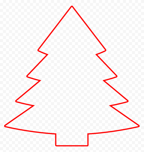 HD Red Outline Christmas Tree Clipart PNG