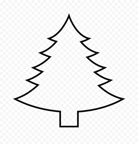 HD Simple Black Outline Christmas Tree Palm PNG