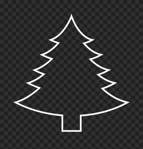 HD Simple White Outline Christmas Tree Palm PNG
