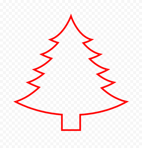 HD Simple Red Outline Christmas Tree Palm PNG