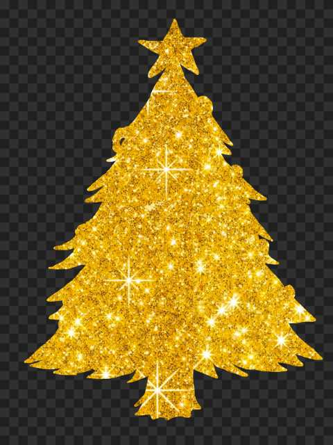 HD Golden Gold Glitter Christmas Tree PNG