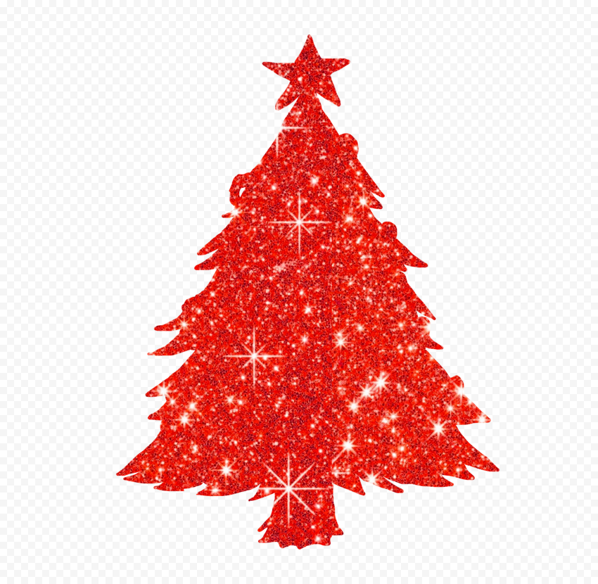 HD Red Christmas Tree Glitter Silhouette PNG