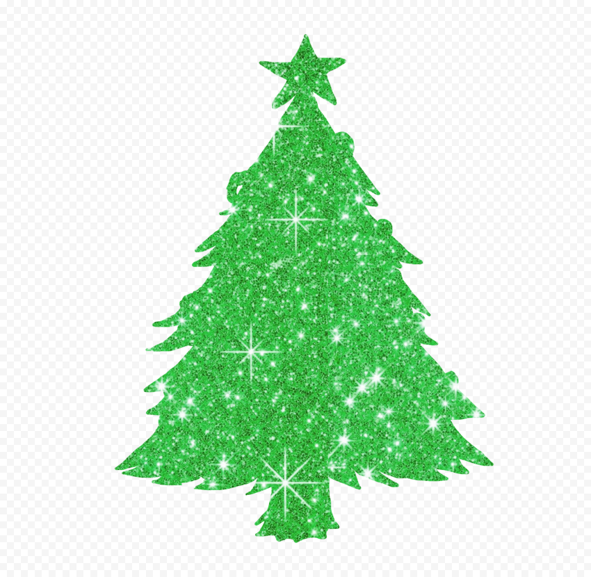 HD Green Christmas Tree Glitter Silhouette PNG