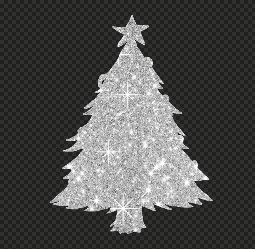 HD Silver Christmas Tree Glitter Silhouette PNG