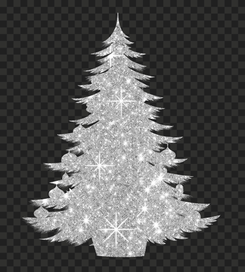HD Decorated Christmas Tree Silver Glitter Silhouette PNG