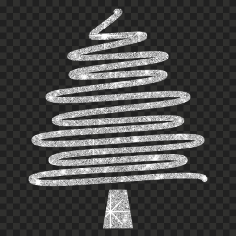 HD Creative Silver Glitter Christmas Tree Ribbon Line Style PNG