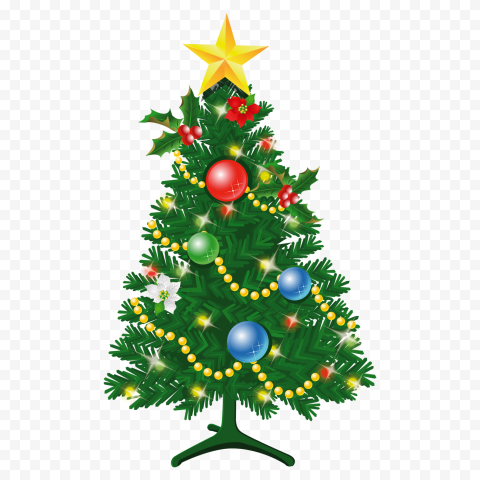 HD Beautiful Decorated Christmas Tree Illustration PNG