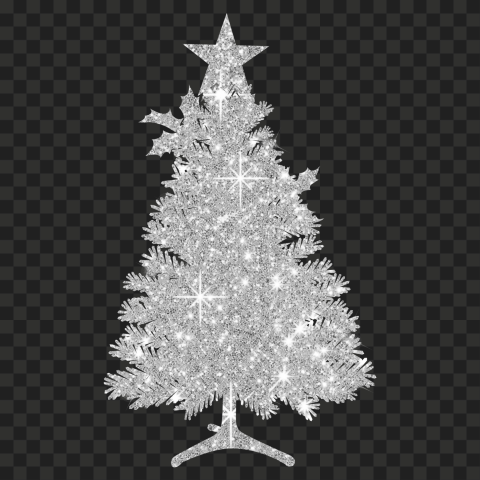 HD Beautiful Christmas Tree Silhouette Covered With Sliver Glitter PNG