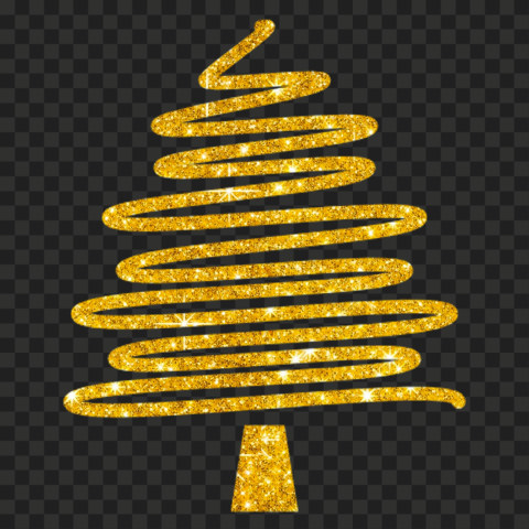 HD Creative Gold Glitter Christmas Tree Ribbon Line Style PNG