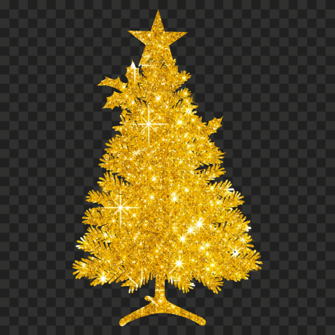 HD Beautiful Christmas Tree Silhouette Covered With Gold Glitter PNG