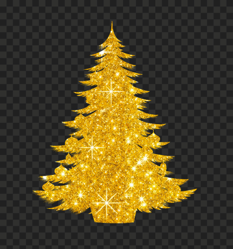 HD Decorated Christmas Tree Gold Glitter Silhouette PNG