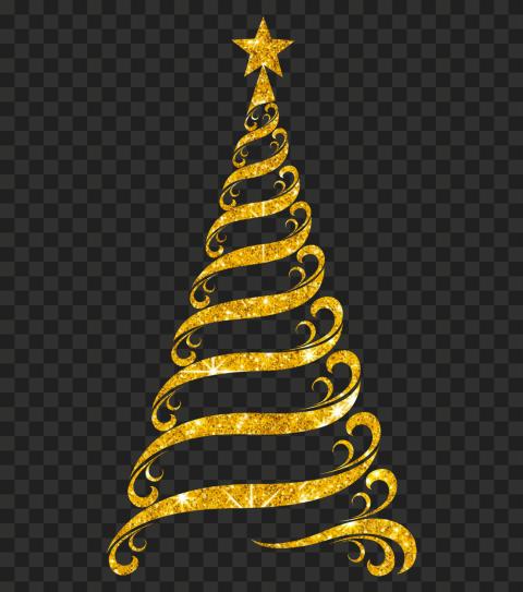 HD Beautiful Gold Ribbon Line Glitter Christmas Tree PNG