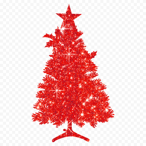 HD Beautiful Christmas Tree Silhouette Covered With Red Glitter PNG