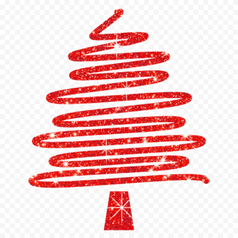 HD Creative Red Glitter Christmas Tree Ribbon Line Style PNG