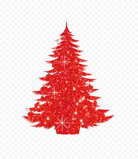 HD Decorated Christmas Tree Red Glitter Silhouette PNG