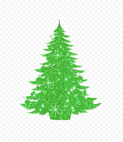 HD Decorated Christmas Tree Green Glitter Silhouette PNG