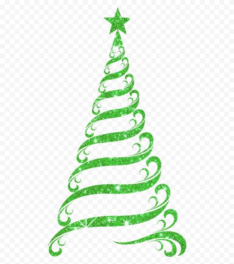 HD Beautiful Green Ribbon Line Glitter Christmas Tree PNG