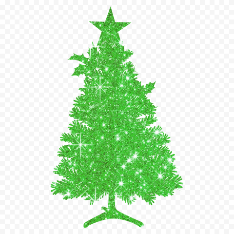 HD Beautiful Christmas Tree Silhouette Covered With Green Glitter PNG