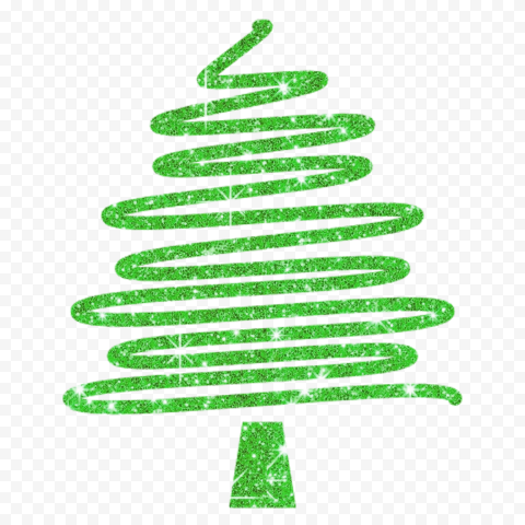 HD Creative Green Glitter Christmas Tree Ribbon Line Style PNG