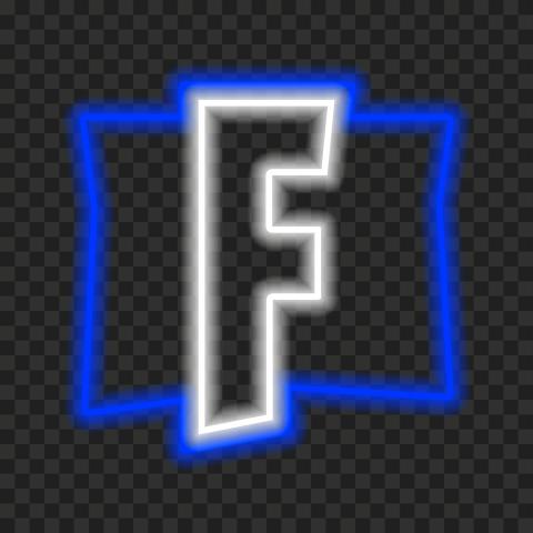 HD Cool Fortnite Blue & White Neon F Logo Letter PNG