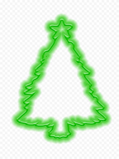 HD Green Neon Christmas Tree Silhouette PNG