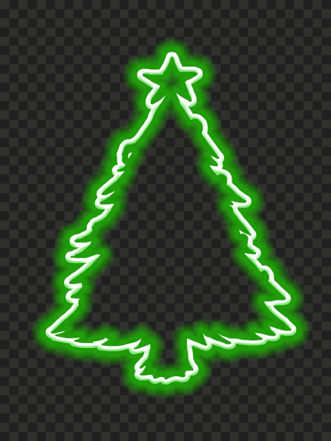 HD Green Aesthetic Neon Christmas Tree Silhouette PNG