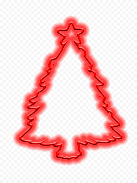 HD Red Neon Christmas Tree Silhouette PNG