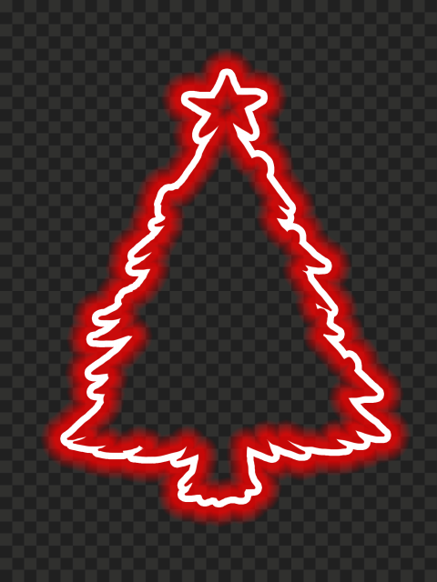HD Beautiful Red Neon Christmas Tree Silhouette PNG