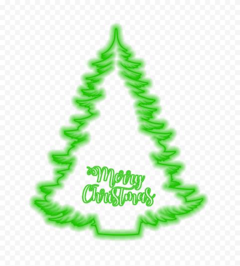 HD Green Neon Beautiful Christmas Tree PNG
