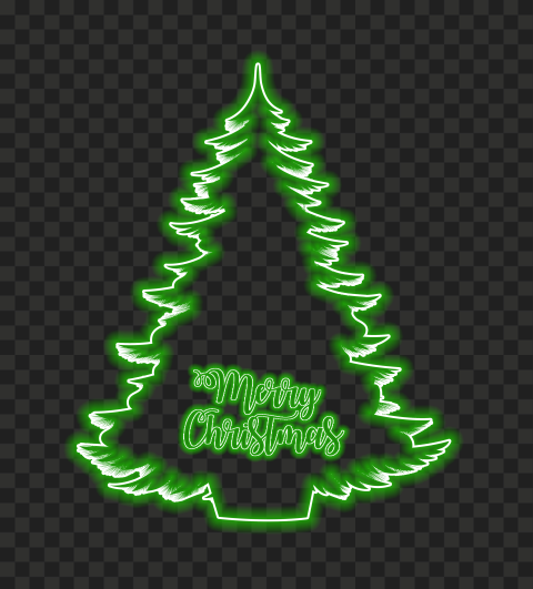 HD Green Neon Merry Christmas Tree PNG