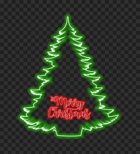 HD Beautiful Green Christmas Tree & Red Merry Christmas Neon PNG