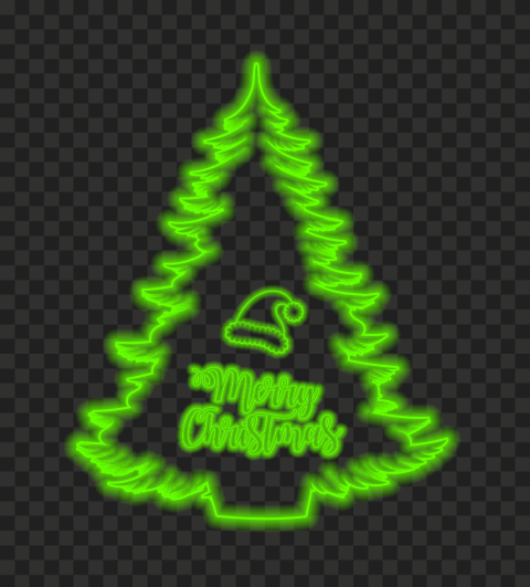 HD Merry Christmas Tree & Santa Hat Green Neon Style PNG