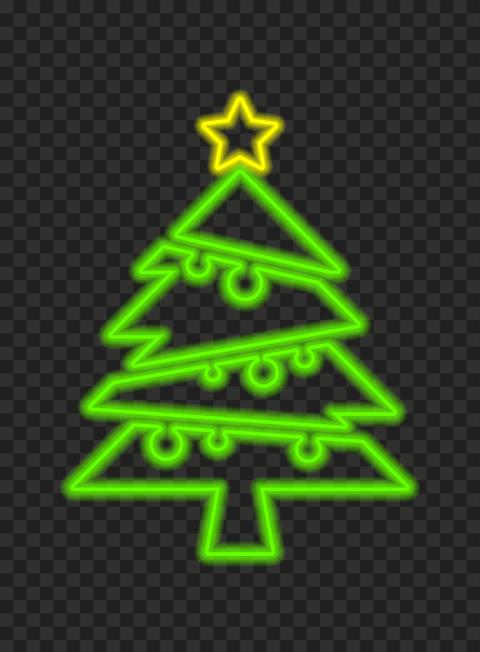 HD Beautiful Green Neon Christmas Tree With Star On Top PNG
