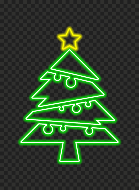 HD Neon Green Christmas Tree With Yellow Star On Top PNG