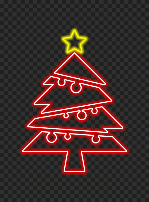 HD Neon Red Christmas Tree With Yellow Star On Top PNG