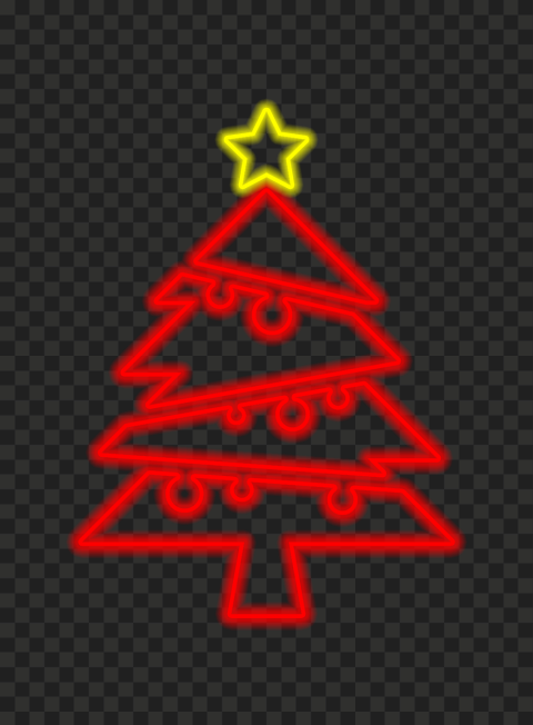 HD Beautiful Red Neon Christmas Tree With Star On Top PNG