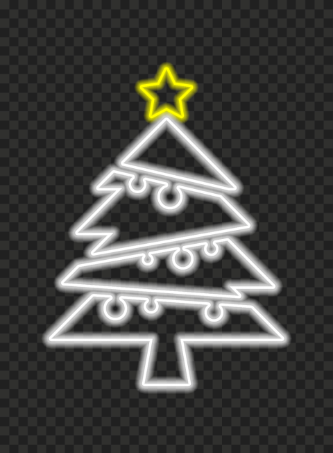 HD Neon White Christmas Tree With Yellow Star On Top PNG