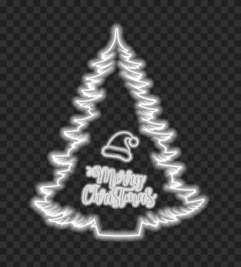 HD Merry Christmas Tree & Santa Hat White Neon Style PNG