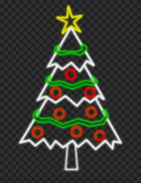 HD Beautiful Neon Decorated Christmas Tree PNG