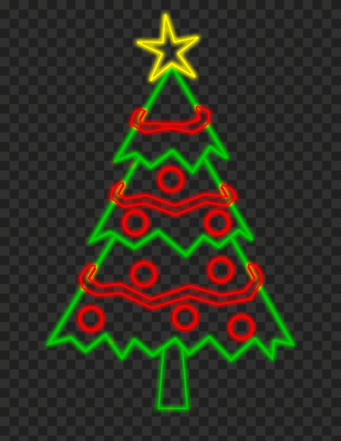 HD Decorated Neon Christmas Tree PNG