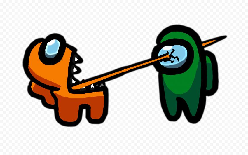 HD Among Us Crewmate Orange Character Tongue Kill Green PNG