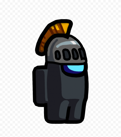 HD Among Us Crewmate Black Character With Knight Helmet PNG