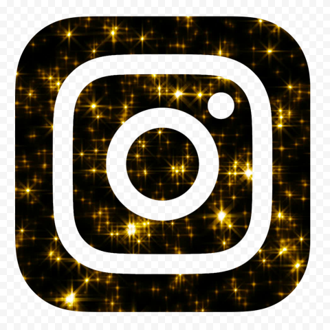HD Aesthetic Black & Gold Glowing Instagram Logo Icon PNG