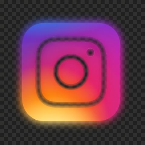HD Beautiful Aesthetic Neon Instagram Logo Icon PNG