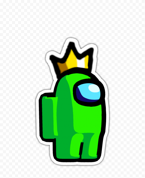 HD Lime Among Us Character Crown Hat Stickers PNG