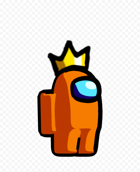 HD Orange Among Us Crewmate Character With Crown Hat PNG