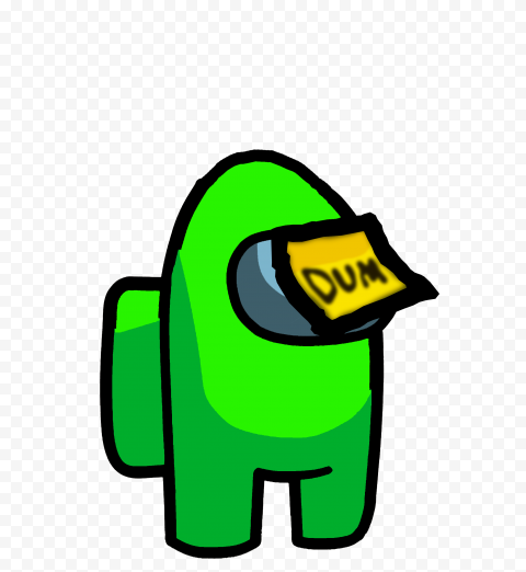 HD Lime Among Us Crewmate Character With Dum Sticky Note Hat PNG