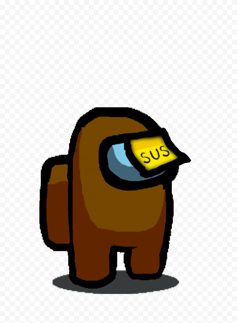 HD Among Us Brown Crewmate Character With Sus Sticky Note Hat PNG