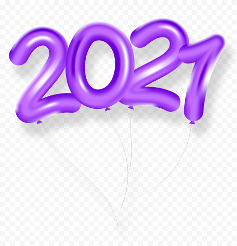 HD Purple 2021 Clipart Text Balloons Flying Logo PNG