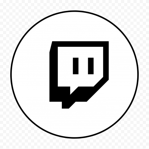 HD B & W Twitch TV Round Icon Transparent Background PNG